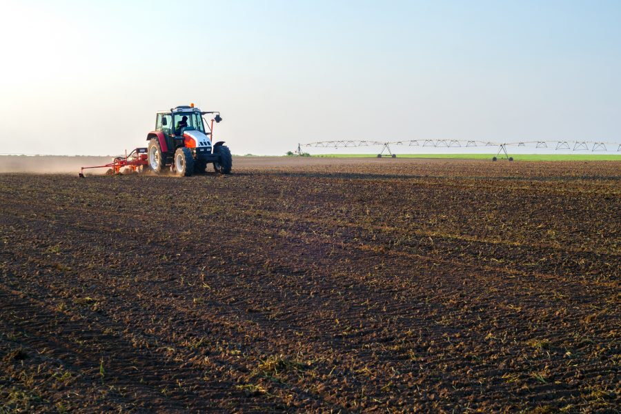 Tractor sowing in the springtime