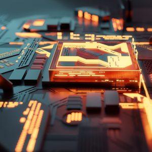 A futuristic glowing CPU quantum computer processor. 3D illustration.