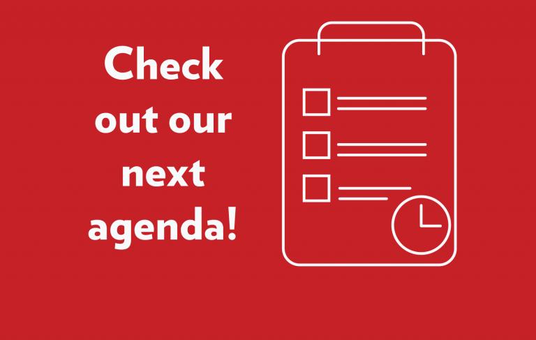check out our next agenda button